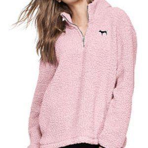 Victoria Secret Pink Light Pink Sherpa Quarter Zip